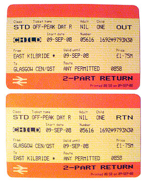 National Rail - Child return ticket from East Kilbride to Glasgow