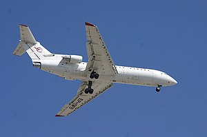 Fars Air Qeshm - A Fars Air Qeshm Yakovlev Yak-42 landing at Dubai International Airport, United Arab Emirates. (2012)
