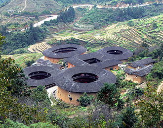 Tianluokeng Tulou cluster - Image: Earth buildings Tianluokeng