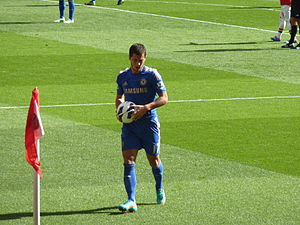 Eden Hazard - Hazard preparing to take a corner kick in September 2012