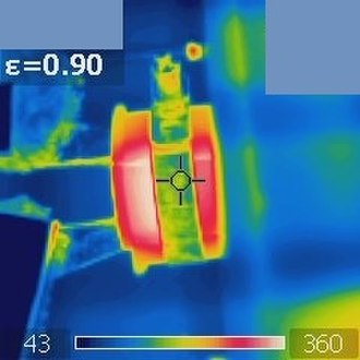 Infrared - Materials with higher emissivity appear to be hotter. In this thermal image, the ceramic cylinder appears to be hotter than its cubic container (made of silicon carbide), while in fact they have the same temperature.