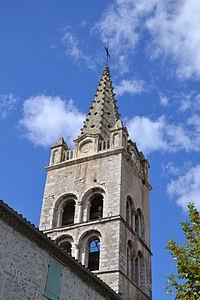 Eglise St-Martin de Lavilledieu - le clocher.JPG