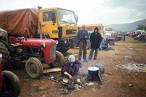 Kosovo War - Kosovo Albanian refugees in 1999