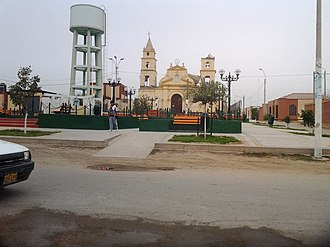 El Carmen (San Juan Bautista) - Village square with earthquake damaged church Yglesia del Carmen which was built in 1779, which is no longer in use but church authorities are restricted from demolishing it by the local government authorities due to its historical significance.