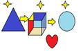 El triangulo azul el circulo celeste el cubo de colores y el corazon rojo.png