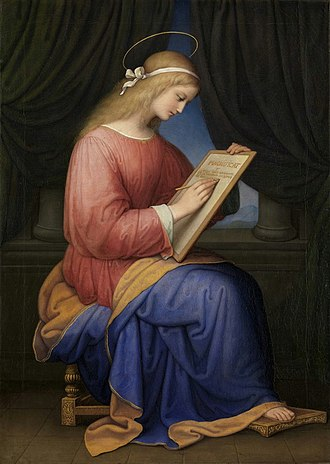 Virgin birth of Jesus - Mary writing the Magnificat, by Marie Ellenrieder, 1833