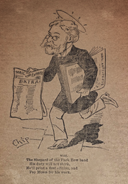 Illustration of Shepard walking with newspapers