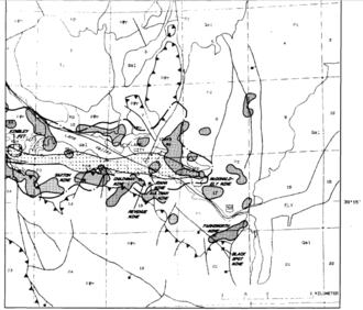 Ely, Nevada - Geologic structure map showing mining operations west of Ely.  Hatched area indicates traces of copper while the shaded area indicates traces of gold.