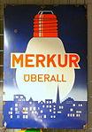 Enamel advertising sign, Merkur überall.JPG