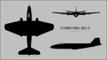 English Electric Canberra B(I).8 three-view silhouette.png