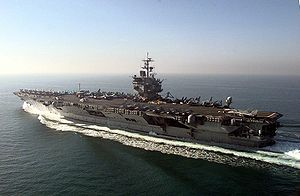 The aircraft carrier USS Enterprise (CVN 65) s...