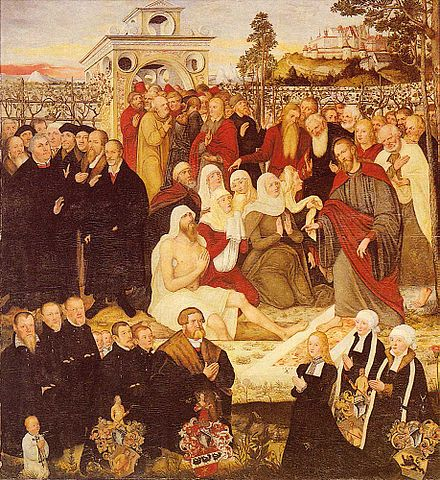 Luther on the left with Lazarus being raised by Jesus from the dead, painting by Lucas Cranach the Elder, 1558 Epi Michael-Meienburg-1555.jpg