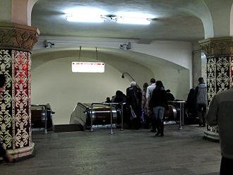 Komsomolskaya (Sokolnicheskaya line) - Escalators leading down to Konsomolskaya on the Koltsevaya line
