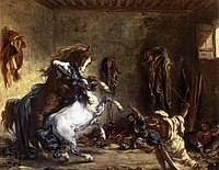 Eugène Delacroix - Arab Horses Fighting in a Stable - WGA6227.jpg