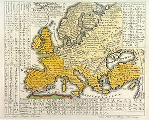 "Ethnic groups in Europe - Europa Polyglotta, Linguarum Genealogiam exhibens, una cum Literis, Scribendique modis, Omnium Gentium (""multilingual Europe, exhibiting a genealogy of tongues together with the letters and modes of writing of all peoples""), from Synopsis Universae Philologiae (1741)."