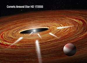 Exocomet - Image: Exocomets plunging into a young star (artist's impression)