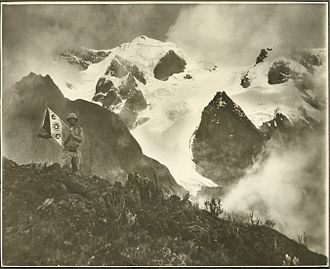 Rwenzori Mountains - Ornithologist James P. Chapin on a Rwenzori expedition under flag of The Explorers Club, 1925
