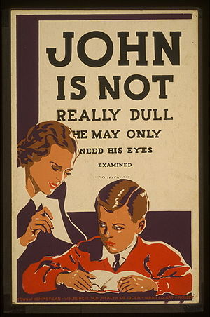 Pediatric ophthalmology - Public education poster urging eye exams for children (Works Progress Administration, circa 1937)