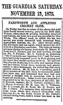 Un extracto de periódico del Farnworth & Appleton Guardian en 1875 que anuncia la formación de Farnworth & Appleton Football Club.
