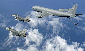 Pease Air National Guard Base - F-16Cs of the Virginia ANG with a New Hampshire ANG KC-135R