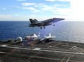 F-18E CAG-bird of VFA-137 over USS Ronald Reagan (CVN-76) 2013.JPG