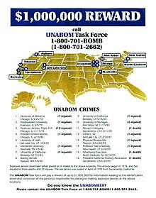 Плакат ФБР с предложением вознаграждения в 1 миллион долларов за информацию, ведущую к поимке Унабомбера