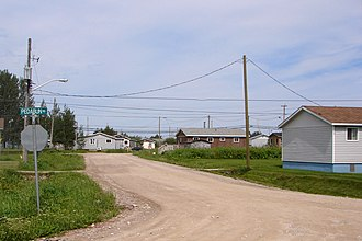 Moose Cree First Nation - Typical residential street in Factory Island 1 Indian Reserve, Moose Factory.
