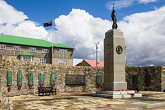 The Liberation Memorial situated in front of the Secretariat Building in Stanley, overlooking Stanley Harbour. Falklands War Memorial, Stanley (Falkland Islands).jpg