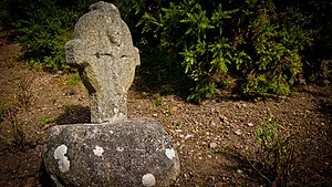 Dublin Mountains Way - The twelfth century Fassaroe Cross at the entrance to Rathmichael Wood