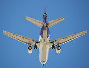 In 2006, FedEx became the first U.S. carrier to equip its aircraft with an anti-missile defense system. The gray oval Northrop Grumman Guardian pod can be seen on the belly of this FedEx MD-10 between and just aft of the main landing gear