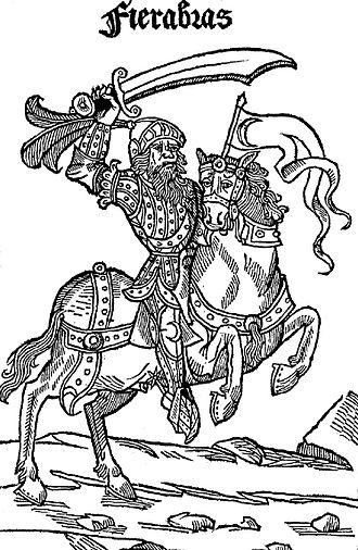 Fierabras - The giant Fierabras. Engraving from the 1497 edition of Jehan Bagnyon's Roman de Fierabras le Géant  (P. Maréchal et B. Chaussard, Lyon), BNF RES-Y2-993
