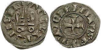 Ferdinand of Majorca - A denarius minted by Ferdinand during his brief rule in Achaea