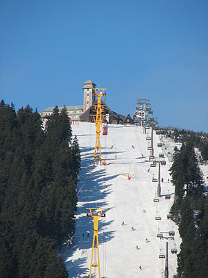 Fichtelberg Cable Car - View of the Fichtelberg with its cable car