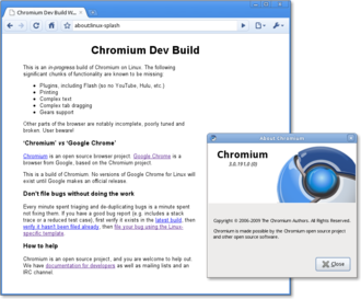 Google Chrome - An early version of Chromium for Linux, explaining the difference between Chrome and Chromium