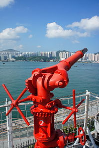 Firefighting monitor on the Fireboat Alexander Grantham (Hong Kong).jpg
