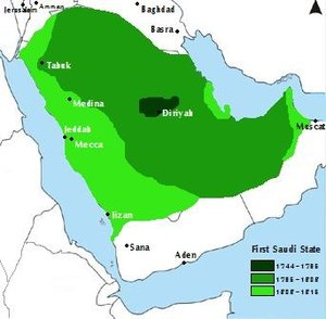 Map of the First Saudi State.