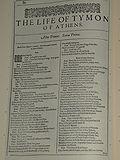 Faksimil av första sidan i The Life of Tymon of Athens från First Folio, publicerad 1623