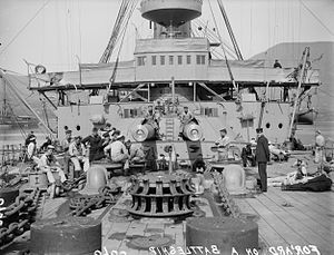 HMS Ocean (1898) - Crew on the forward deck of a Canopus-class battleship, c. 1905