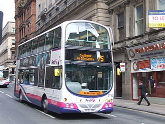 First Glasgow - Wright Eclipse Gemini bodied Volvo B9TL in Glasgow city centre in 2007