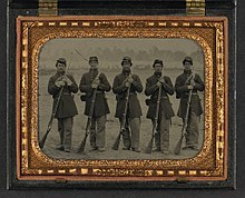 Five soldiers in Union uniforms of the 6th Regiment Massachusetts Volunteer Militia.jpg