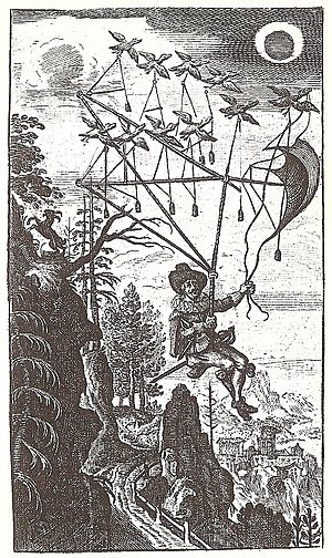 The Man in the Moone - Frontispiece of Der Fliegende Wandersmann nach dem Mond, 1659
