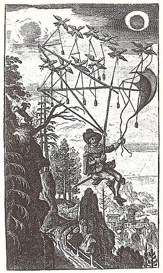 The Man in the Moone - Frontispiece of Der Fliegende Wandersmann nach dem Mond, 1659
