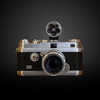 Rangefinder camera - A Foca camera of 1947 at the Musée des Arts et Métiers in Paris.