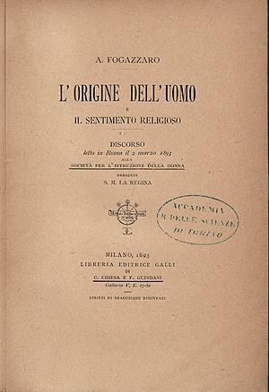 Antonio Fogazzaro - Origine dell'uomo