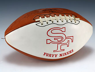 1975 San Francisco 49ers season - A football signed by the 1975 San Francisco 49ers team, including Steve Spurrier.