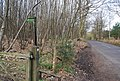 Footpath signpost into Pitfield Wood, Gracious Lane - geograph.org.uk - 1256256.jpg