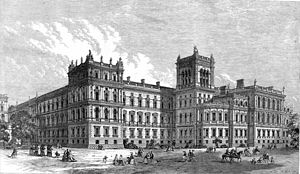 Foreign and Commonwealth Office - The western end of the Foreign and Commonwealth Office's building in 1866, facing St. James's Park. It was then occupied by the Foreign and India Offices, while the Home and Colonial Offices occupied the Whitehall end