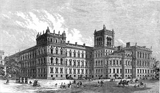 Foreign and Commonwealth Office - The western end of the Foreign and Commonwealth Office's building in 1866, facing St. James's Park. It was then occupied by the Foreign and India Offices, while the Home and Colonial Offices occupied the Whitehall end.