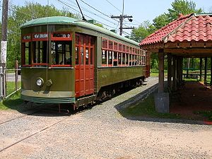 Connecticut Trolley Museum - A New Orleans streetcar stops at the Isle of Safety (originally at State St, Hartford)