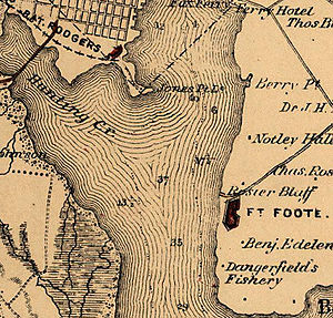 Fort Foote - This map shows the location of Fort Foote on the east bank of the Potomac downstream from Battery Rodgers and Alexandria, Virginia.